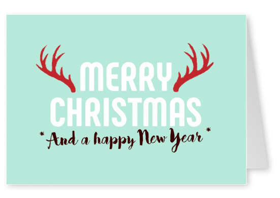Christmas and New Years greeting card with an antler in turquoise