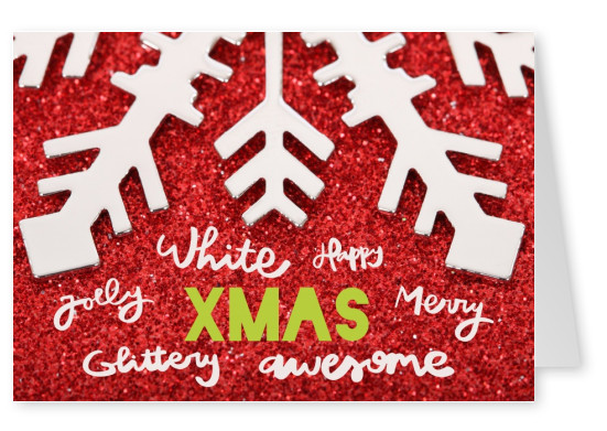 Christmas greeting card XMAS with a big snowflake on red glittery ground