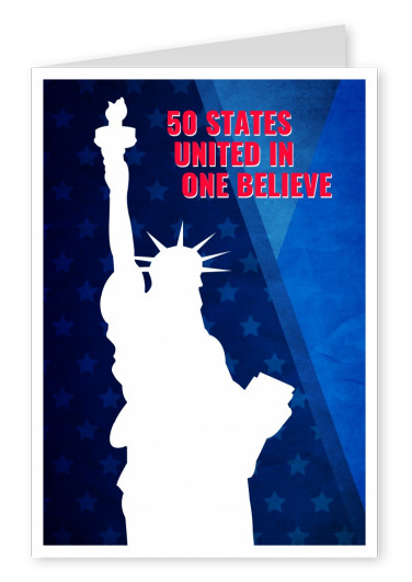 Greeting card with the statue of liberty and lettering