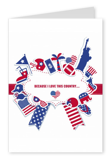 Greeting card with American things