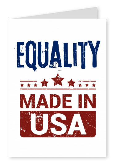 Simple greeting card with text about equality