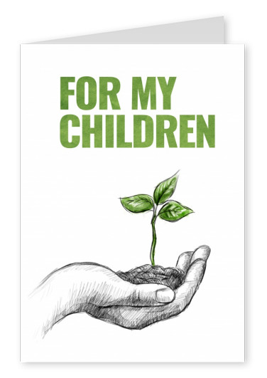 Greeting card with hand holding a growing plant