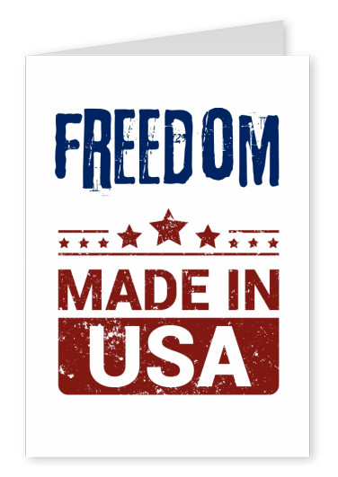 Postcard saying freedom made in USA