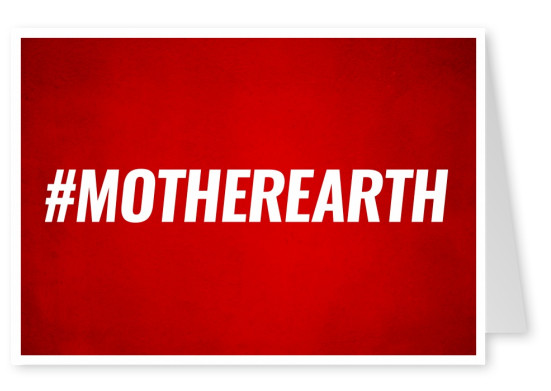 Red greeting card with white hashtag motherearth