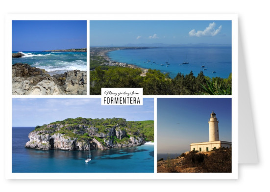 Greeting card from Formentera in Spain with photos of differents sandy beaches