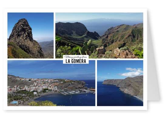 Greeting card from La Gomera in Spain with photos of the nature