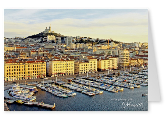 Greeting card from Marseille in France with photo of the port