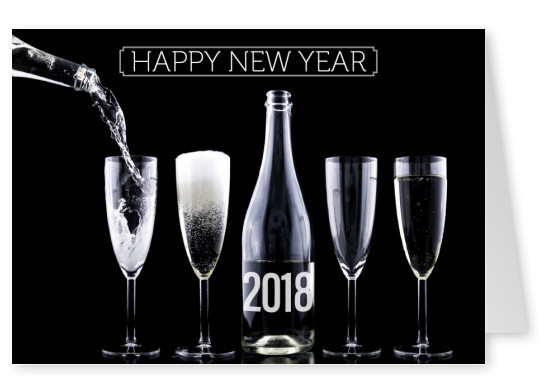 New years card with champagne and glasses