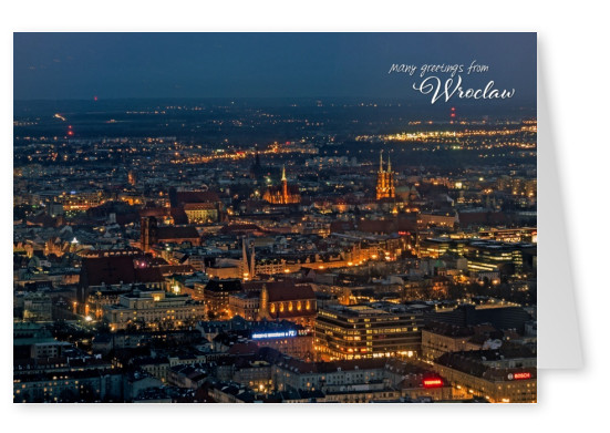 Greetingcard showing an old town part of Wroclaw at night