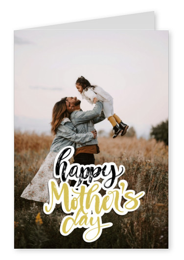 happy mother's day calligraphy in black and gold