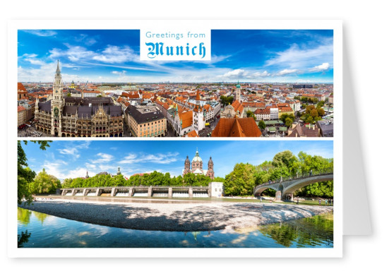 munich panorama postcard picture