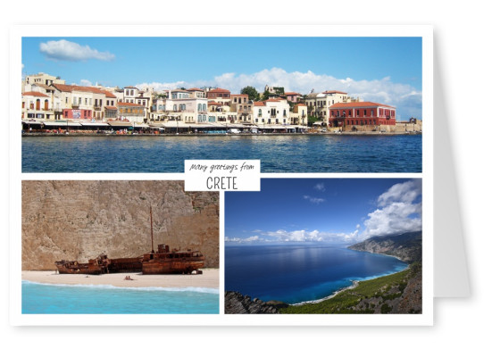 Three photos of crete in greece