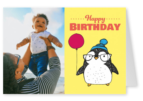 Birthday postcard with cute penguin with a balloon