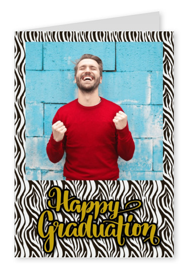 personalization card with zebra pattern and lettering happy graduation