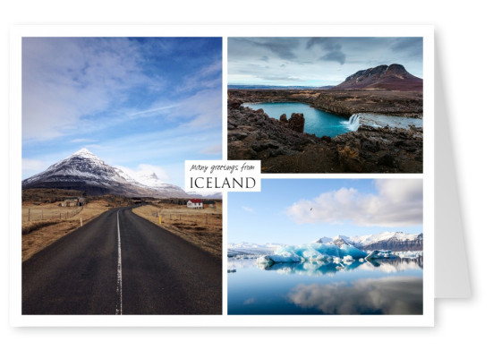Three photos of iceland – house, mountain and ice