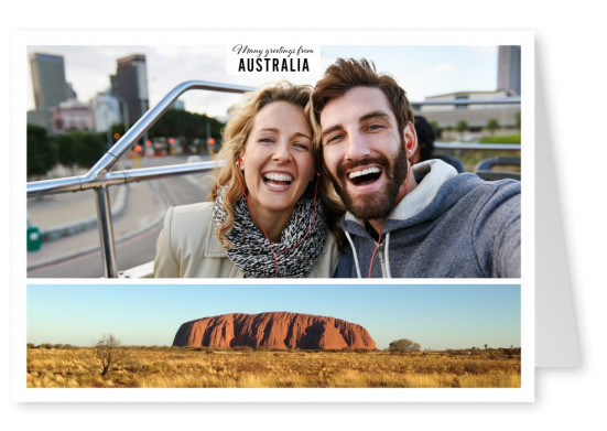 Personalizable greeting card from Australia with photo of Rainbow Valley