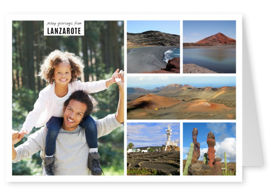 personalizable card with space for one photo with pictures of lanzarote
