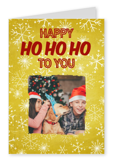 Snowflakes on a gold background with square photo template and red Happy Ho Ho Ho wishes