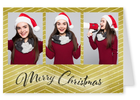Christmas greeting card wishes Merry Christmas with golden and white stripes