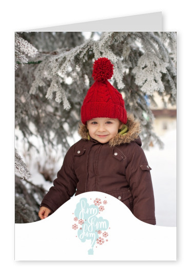 Personalizable christmas card with little house with smoke and snowflakes