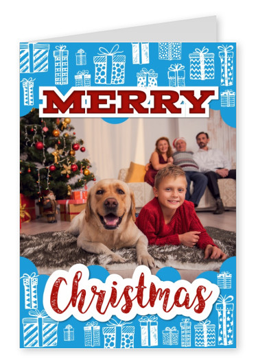 Personalizable christmas card with illustrations of presents in blue and white