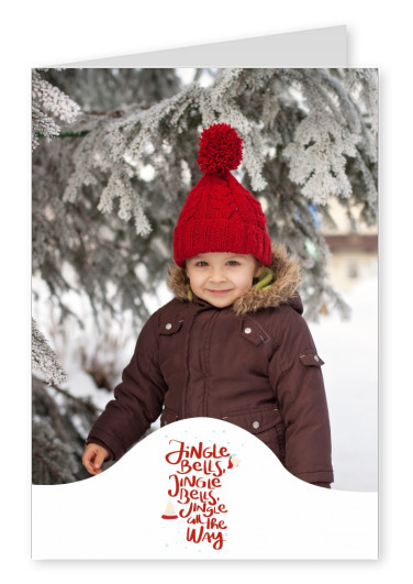 Personalizable christmas card saying jingle bell in red