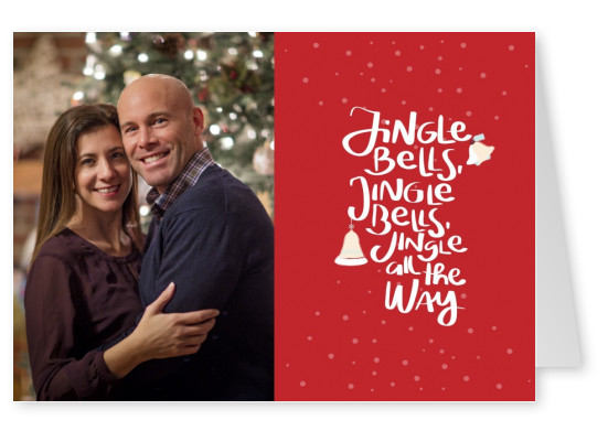 Personalizable red background christmas card saying jingle bells with bell doodle