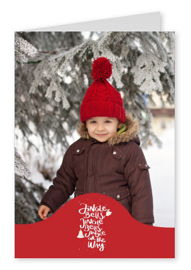Personalizable christmas card with jingle bells jingle all the way