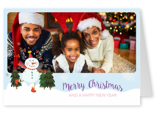Personalizable christmas card with a snowman dancing throw winter wonderland