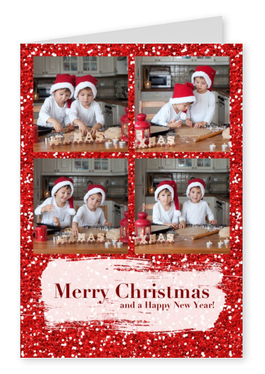 Personalizable christmas greeting card with red glitter