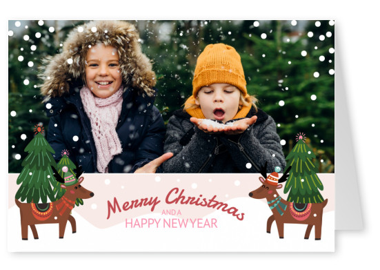 Personalizable christmas card with reindeers in winterwonderland