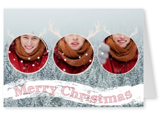 3 personalizable circular images with reindeer antler borders on top of a snowy backdrop and Christmas banner