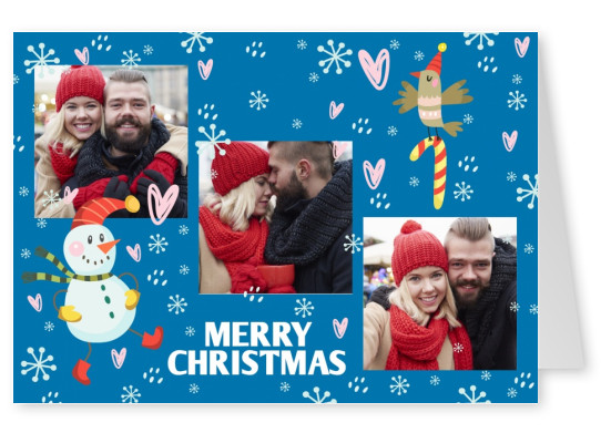 Personalizable christmas card with christmacy illustraions
