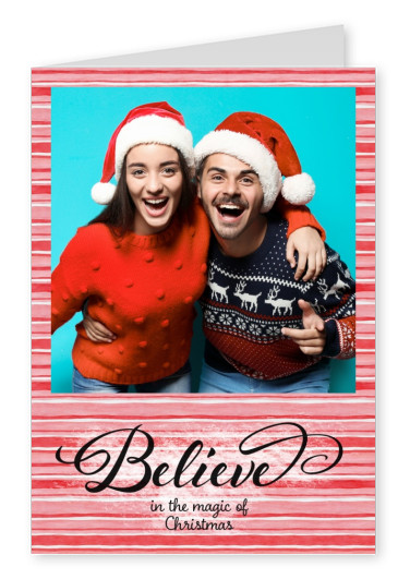 Personalizable Christmas greeting card in red and white stripes