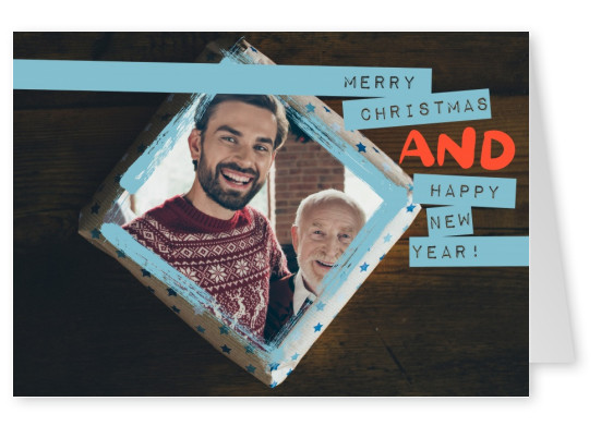 Personalizable christmas and new years eve greeting card on wood with blue details