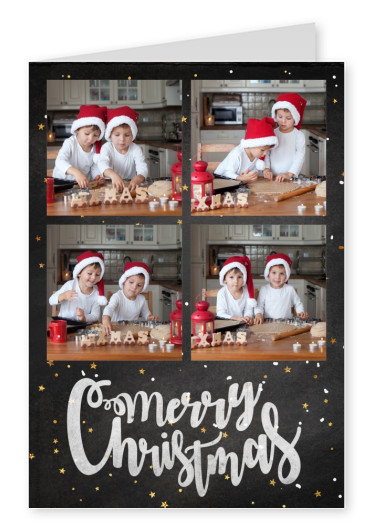 Personalizable christmas card for four pictures with polka dots in background, Merry Christmas written in cursive