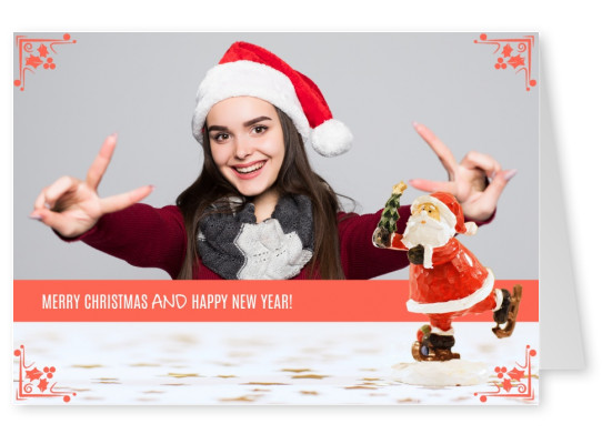 Personalizable christmas card with an ice skating Santa Claus
