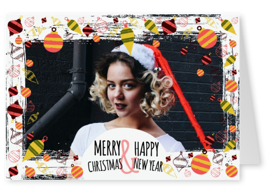 A colorful Christmas and New Year card with a festive border of doodles and baubles