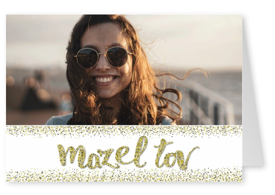 Personalizable congratulation postcard with Mazel tov logo and golden glitter