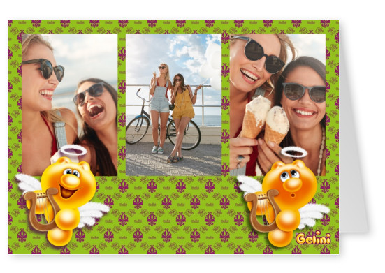 Personalizable greeting card from Gelini with flying holy angles