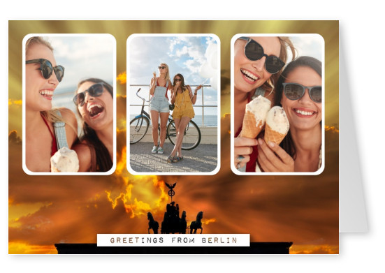 Personalizable greeting card from Berlin with the Brandenburgergate
