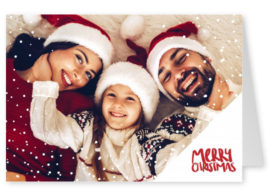 Personalizable christmas card with snow wishing Merry Christmas