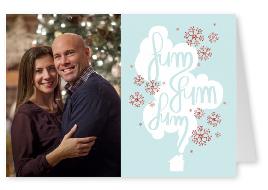 Personalizable christmas card with a smoking house and snowflakes