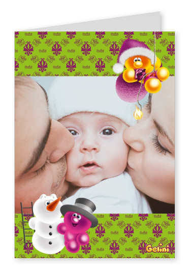 Personalizable greeting card from Gelini with a snowman and pattern
