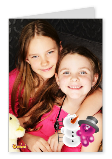 Personalizable greeting card from Gelini with two friends