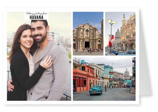 Personalizable greeting card from Havana- Cuba with different places at the city