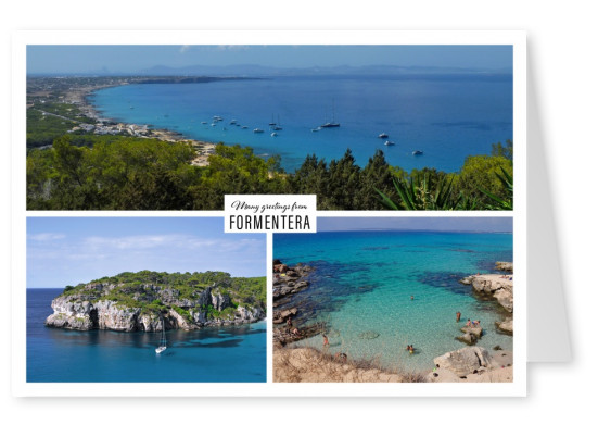 Personalizable greeting card from Formentera with three different photos of beaches with turquouise ocean
