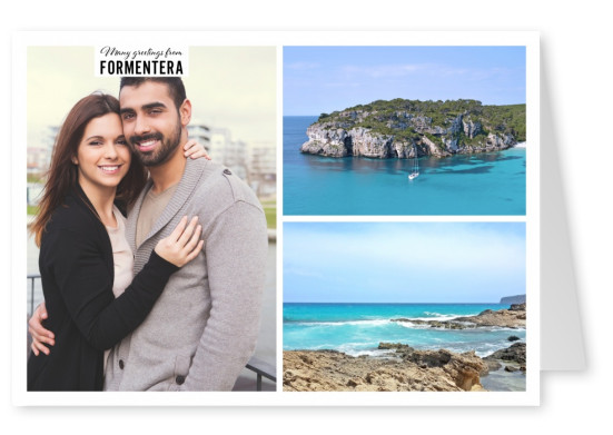 Personalizable greeting card from Formentera with photos of the ocean