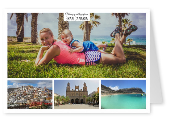 Personalizable greeting card from Gran Canaria with photos of the coastline and the Cathedral of Saint Ana