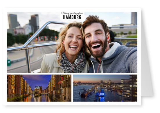 Personalizable greeting card from Hamburg with photos of the city by night